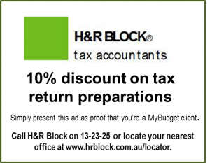 H&R Block 10% discount for MyBudget clients and staff