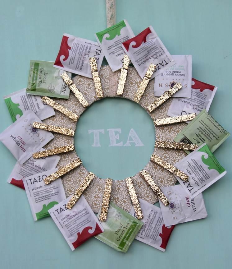 tea wreath via kojo designs mybudget - Homemade Christmas Gifts