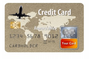 Air mile rewards are the prize for using this generic, mock credit card.